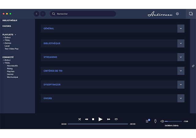 audirvana 3.5 menu